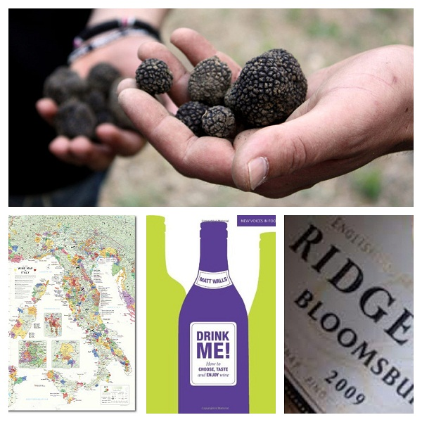 (Clockwise from top) Truffle Hunting, Ridgeview, Drink Me! by Matt Walls, beautiful wine maps