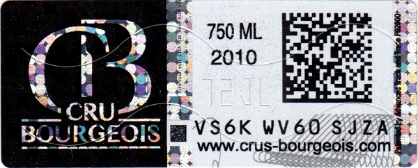 Cru Bourgeois hologram and datamatrix code