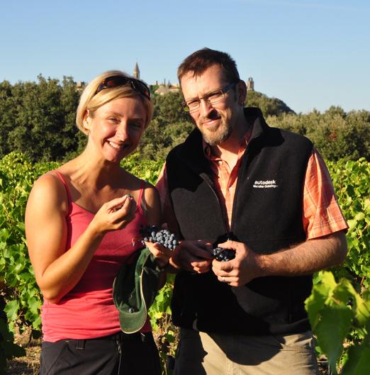 Amy and Matt in their vineyard